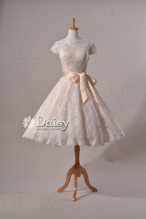 Cute vintage lace wedding party dress, tea length lace wedding dress with cap sleeves (sally)