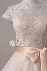Cute vintage lace wedding party dress, tea length lace wedding dresses with cap sleeves (sally)