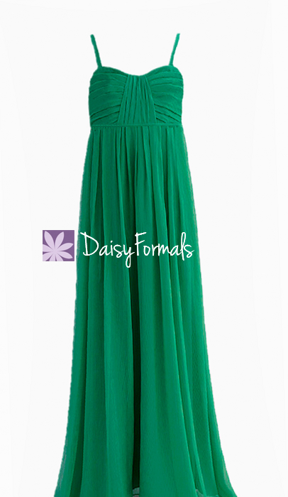 Jade green junior bridesmaid dress empire waist junior formal girl dress- fl956