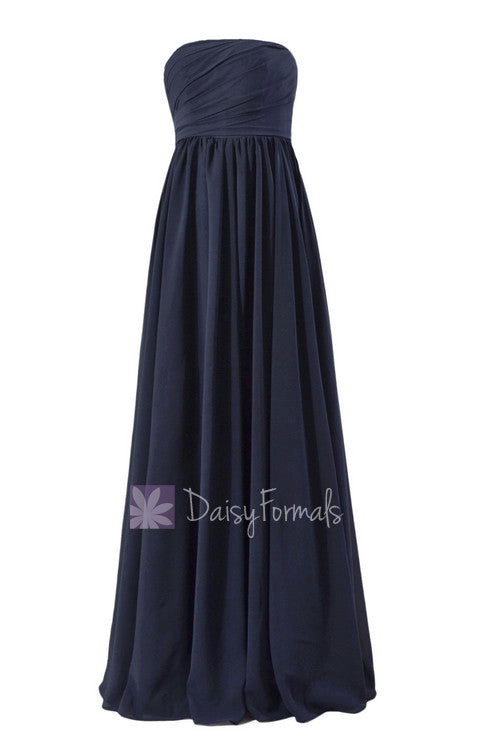 bebdc292c622 Gorgeous Long Navy Blue Chiffon Party Dress Empire Strapless Formal Dress(FB138)  – DaisyFormals-Bridesmaid and Formal Dresses in 59+ Colors