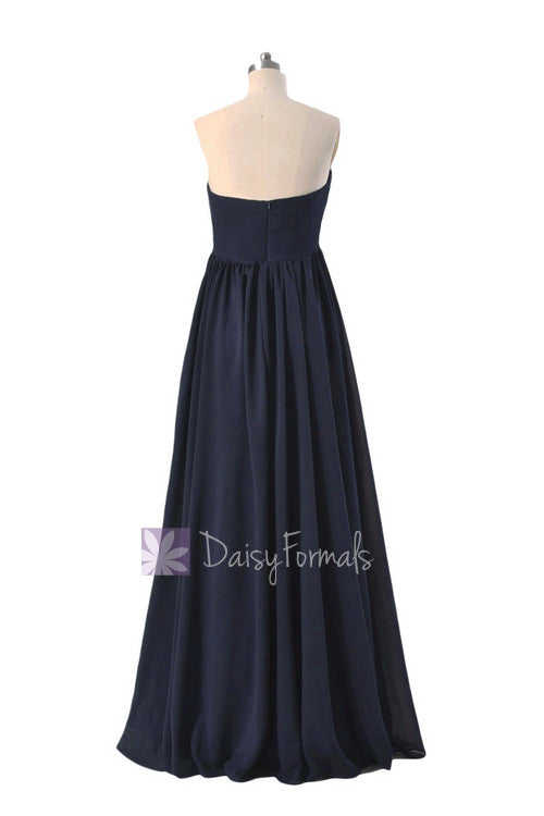 Gorgeous Long Navy Blue Chiffon Party Dress Empire Strapless Formal