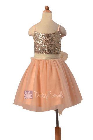 In stock,Ready to Ship -Dark Champagne Tulle Flower Girl Dress W/Sequin Bodice (FL2526) - (Dark Champagne, Children Sz #5)
