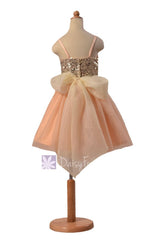 In stock,ready to ship -dark champagne tulle flower girl formal party dresses w/sequin bodice (fl2526) - (dark champagne, children sz #5)