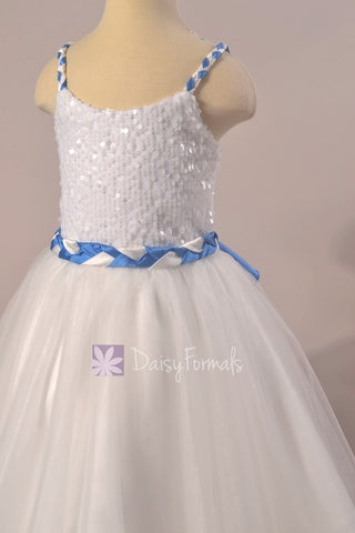 Ivory Braided Straps Flower Girl Dress w/Braided Waist Sash (FL1305AL)