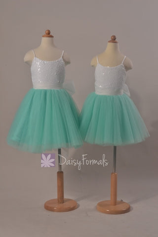 Lovely Spaghetti Straps Flower Girl Dress Mint Green Tulle Flower Girl Dress(FL2526)