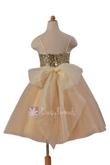 Lovely champagne tulle formal flower girl dresses w/sequin bodice & spaghetti straps(fl2526)