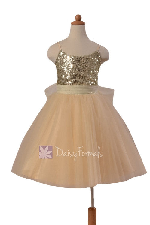 Lovely champagne tulle formal flower girl dress w/sequin bodice & spaghetti straps(fl2526)