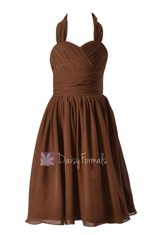 Lovely Brown Halter Flower Girl Dress Knee Length Chiffon Flower Girl Dress(FL1725)