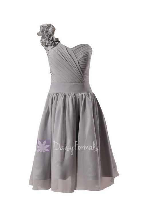 Gray chiffon flower girl dress short one shoulder formal flower girl dress(fl223)