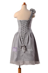 Gray chiffon flower girl dress short one shoulder formal flower girl dresses(fl223)