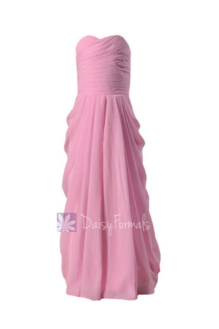 Long Strapless Chiffon Flower Girl Dress Beautiful Pink Flower Girl Dress(FL2397)