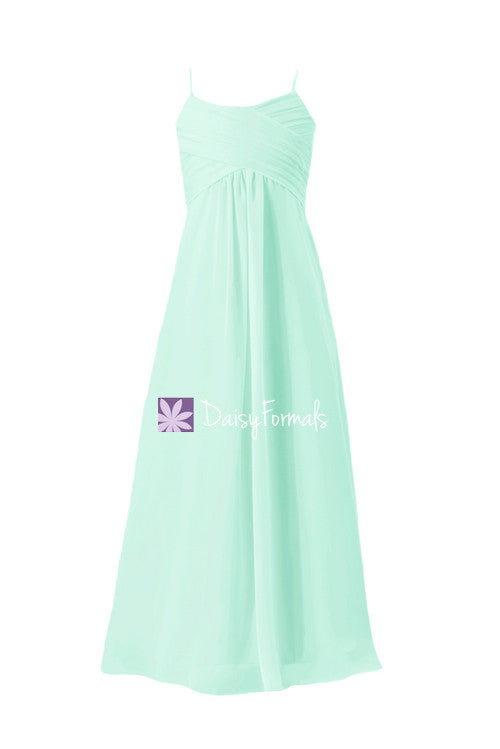 Mint green junior bridesmaids dress full length junior party dress w/spaghetti straps (fl2442)