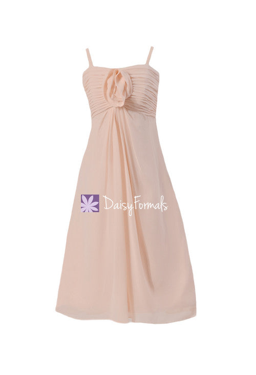 Tea length a-line spaghetti straps tea-length chiffon junior bridesmaid dress (fl2530)