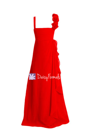 Floor Length Red Junior Bridesmaids Dress Lovely Red Chiffon Junior Party Dress Chiffon (FL32862)