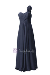 Floor length chiffon junior bridesmaid dress elegant navy party dress w/handmade flowers(fl346)
