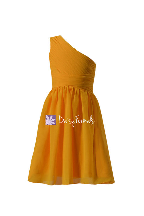 Mustard yellow junior bridesmaid dress flower girl dresses chiffon girl dress junior girl dress (fl351s)