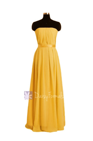 Yellow Chiffon Junior Bridesmaid Dress Silmple Strapless Party Dress(FL4031)