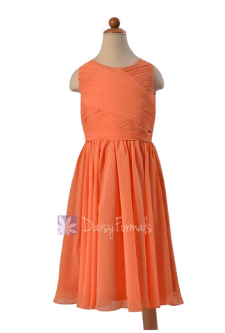 Lovely Tea Length Orange Chiffon Little Girl Dress W/Jewel Neck(FL5196AL)