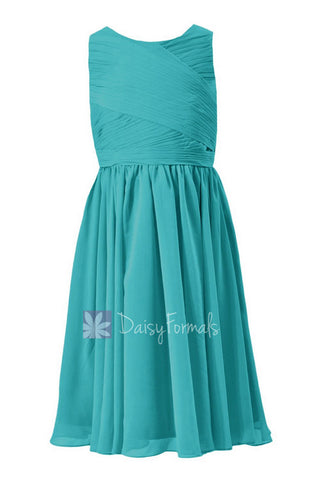 Tea Length Teal Junior Bridesmaid Dress Cyan Little Girl Dress W/Jewel Neck(FL5196AL)