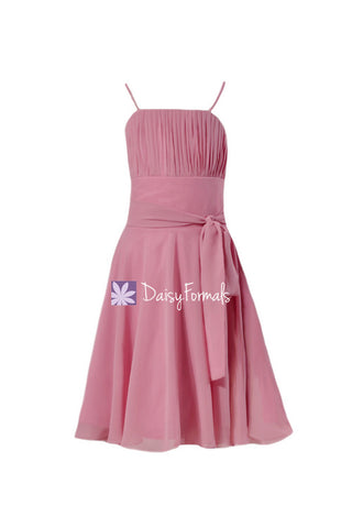 Cute Lavender Pink Junior Bridesmaids Dress Lovely Pink Junior Party Dress (FL856)