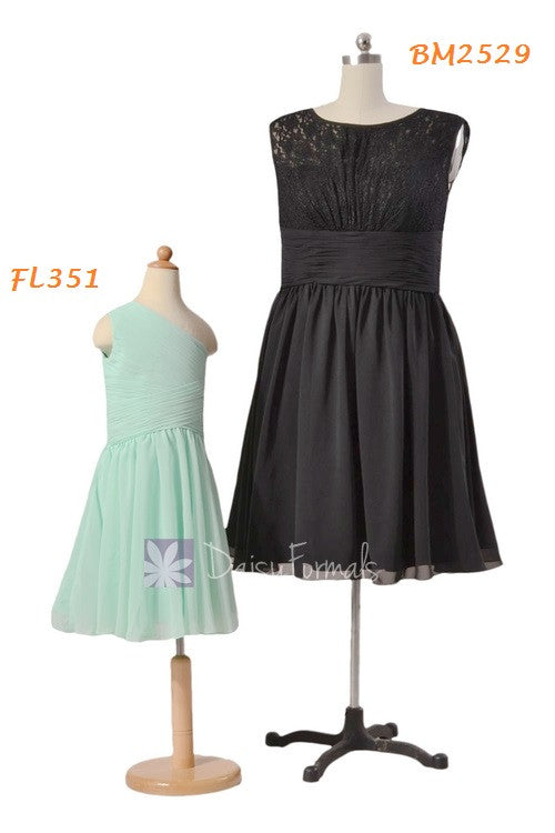 Mint one shoulder formal flower girl dress ( fl351) short vintage lace bridesmaid dress (bm2529)