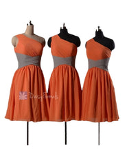 Classic orange chifon bridesmaid dresses short one shoulder formal dresses(bm351)