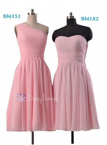 Beautiful Short Pink Chiffon Bridesmaid Dresses-BM351(One Shoulder), BM182(Strapless)