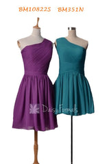 One shoulder chiffon bridesmaid dress online -bm10822s(knee length) bm351n(mini length)