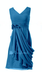 Blue arua bridesmaid dress short arua blue party dress v neckline chiffon cocktail dress (style liz)