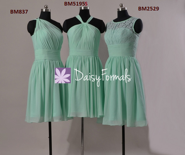 Mint one shoulder bridal party dress short mint vintage lace bridesmaid dress online (bm2529)