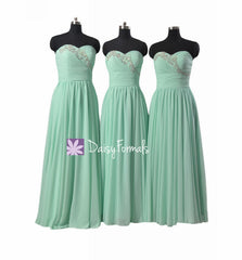 Gorgeous beading wedding party dress full length beading wedding party gown mix match mint dress (bm1044)