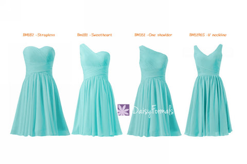 Affordable Tiffany Blue Bridesmaid Dresses Mix-Matched Short Knee Length Party Dress MM60
