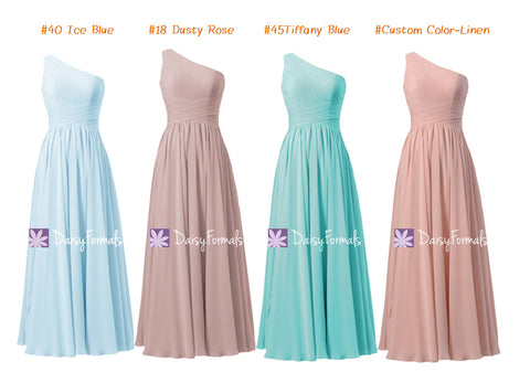 Ice Blue Chiffon Dress Dusty Rose Party Dress Aqua Formal Dress Linen Bridesmaids Dress (MM150)