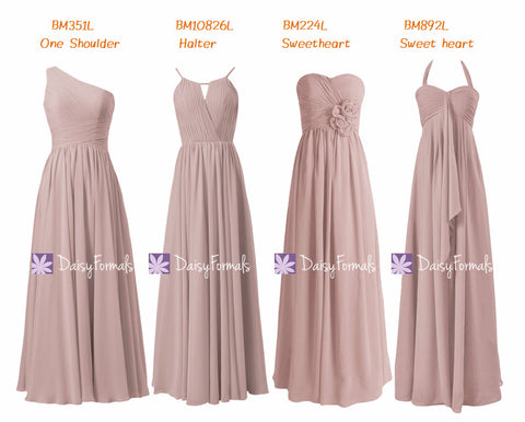 Dusty Rose Chiffon Party Dress Long Quartz Formal Dress Vintage Rose Pink Bridesmaids Dress (MM151)