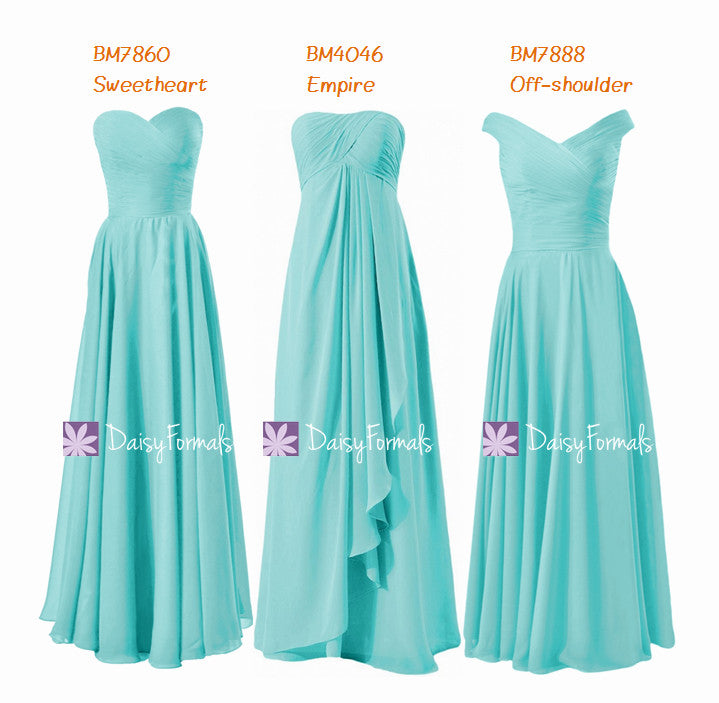 Full length discount bridesmaids dress empire formal dress off shoulder chiffon party dress (mm152)