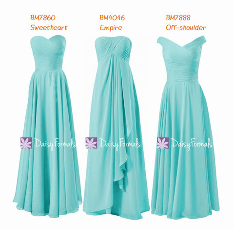 Full Length Bridesmaids Dress Empire Formal Dress Off Shoulder Chiffon Party Dress (MM152)