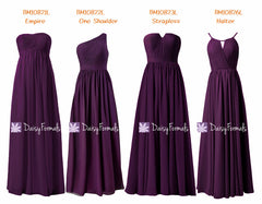 Eggplant online chiffon bridesmaids dress byzantium mix-match long party dress (mm153)