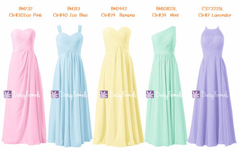 Ice Pink Strapless Dress Light Blue Party Dress Banana Yellow Formal Dress Mint Chiffon Dress (MM155)