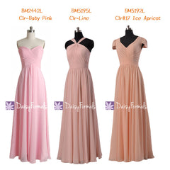 Light pink beach wedding party dress full length best bridesmaids dress (mm156)