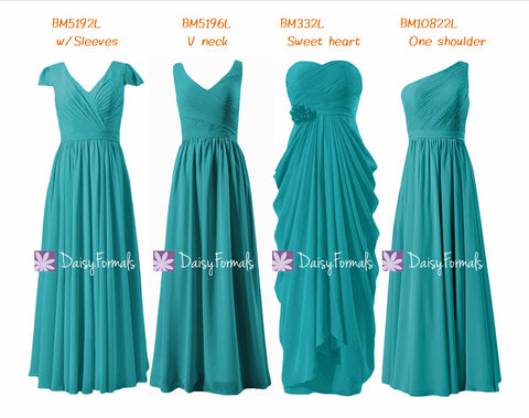 Long Green-blue Wedding Party Dress Full Length Cyan Bridesmaids Dress (MM157)