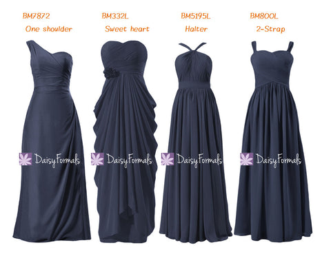 Classic Navy Chiffon Bridesmaids Dress Long Navy Mix-Match Long Party Dress (MM158)
