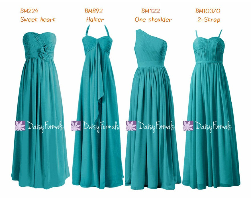 Dark turquoise bridesmaids dress mix-match long party dress cyan chiffon dress (mm159)