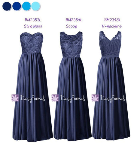 Mix & Match Bridesmaids Dress Long Navy Party Dress - Navy Nautical (MM161)
