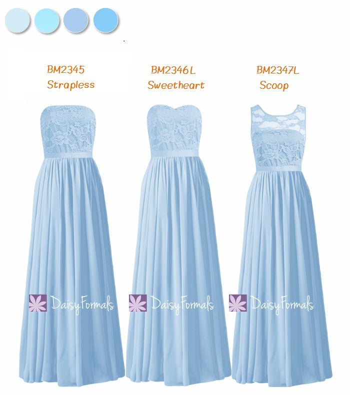 Long Ice Blue Mismatched Bridesmaids Dress Formal Dress - Ice Blue Line Up (MM162)
