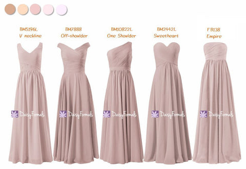 Custom Bridesmaids Dress Long Dusty Rose Dress - Dusty Hues (MM166)