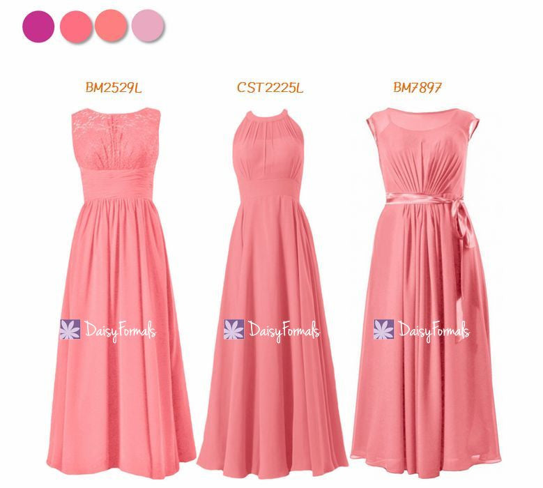 Coral Bridesmaids Dress Long Formal Dress - to be Coral (MM168)