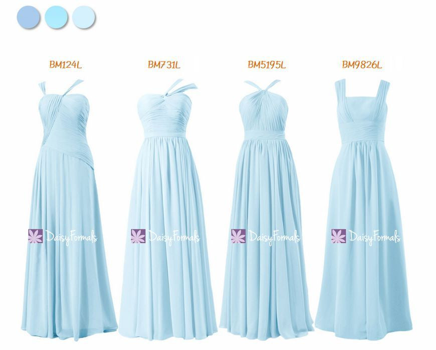 Ice Blue Long Bridesmaids Dress - All Shoulder Straps (MM169)