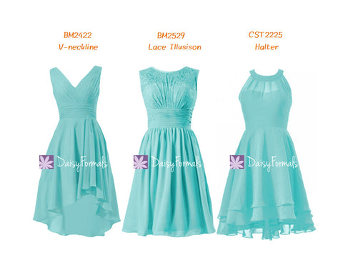 Versatile Tiffany Blue Formal Dress Deep V-neckline Party Dress Vintage Lace Dress (MM63 )