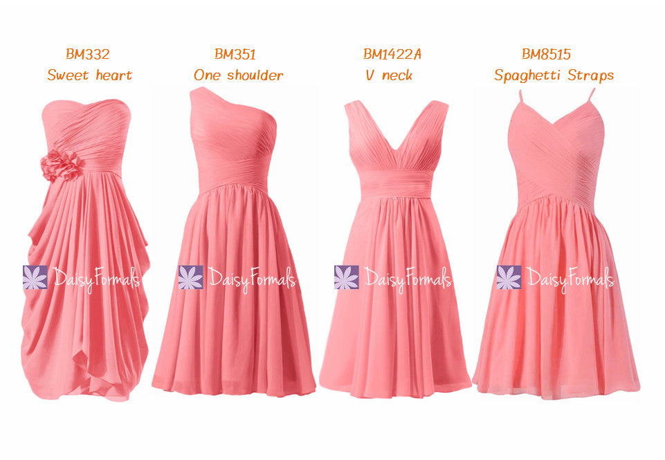 Passion coral strapless cheap formal dress mix-match light coral party dress (mm64)