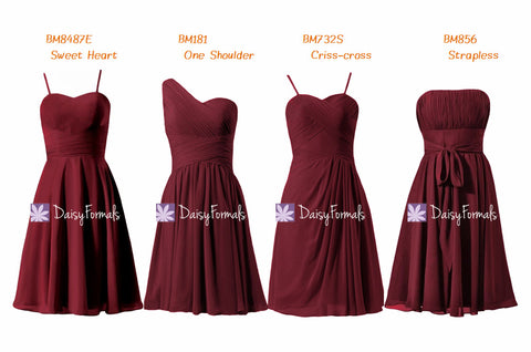 Dark Scarlet Mix & Match Bridesmaids Dress One Shoulder Party Dress Strapless Chiffon Dress (MM65)